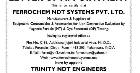 Appointment Letter Kerala Ndt Certification Courses Institute Chennai Tamilnadu Kerala Bangalore Delhi