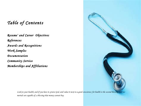 gallery table of contents exles for portfolio