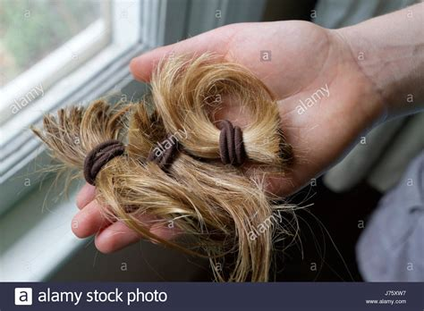blonde ponytail cut off close up of a hand holding a thick cut off blond ponytail