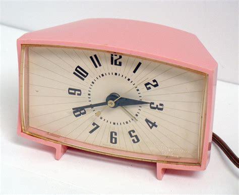 vintage ge pink alarm clock general electric mid century