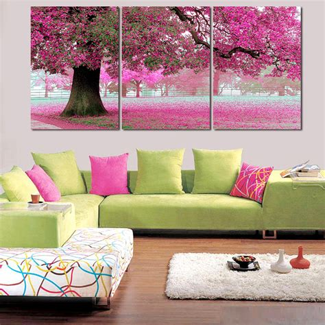 large modern wall new painting on canvas 5 pcs pink cherry blossom large