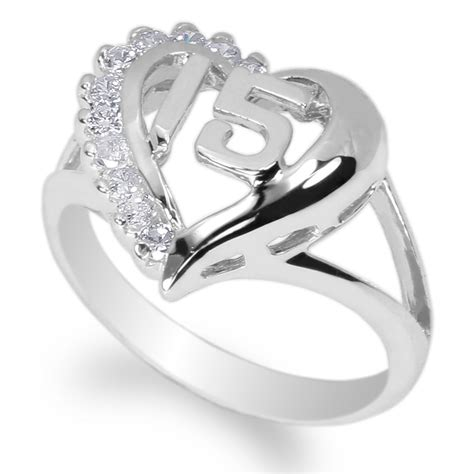 15 quinceanera 925 sterling silver ring w white gold