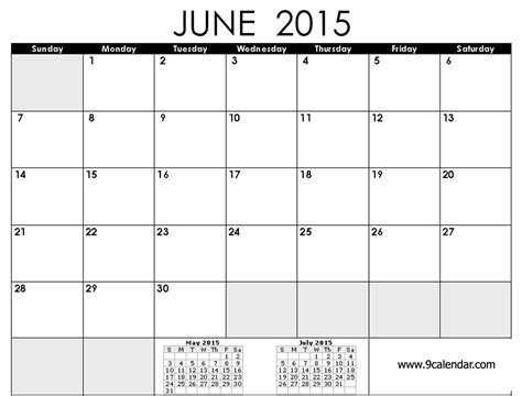 Blank Calendar For June 2015 5 Best Images Of Printable 2015 Monthly Calendar Template