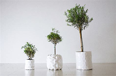 Origami Pot - an origami pot that expands as the plant grows huh