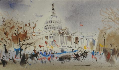 lot 525 wayne wu watercolor washington dc parade
