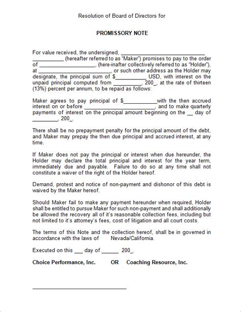 promissory note template sle promissory note unsecured promissory note template