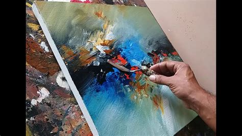 acrylic painting abstract demo abstract painting blending with brush and palette knife
