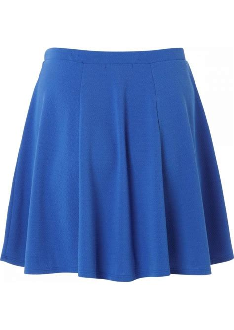 plus size blue textured skater skirt