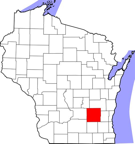 Dodge County Property Records File Map Of Wisconsin Highlighting Dodge County Svg