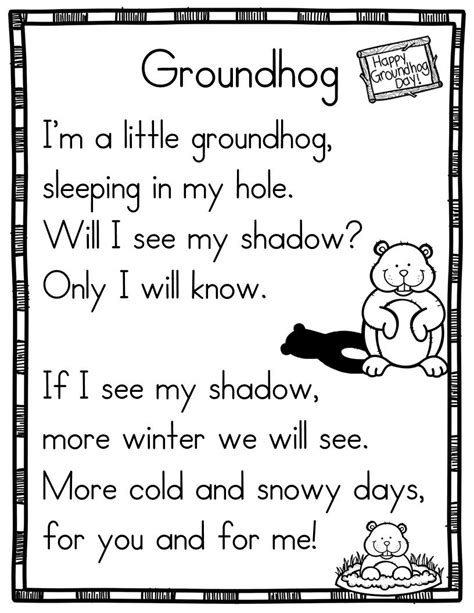 groundhog day poem 17 winter themed sight word poems for shared reading for