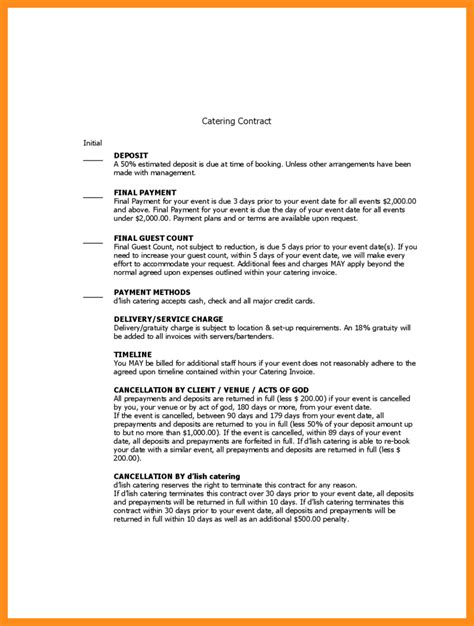 9 sle catering contract template agenda exle