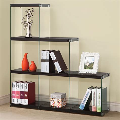 coaster bookcases 801260 glossy black bookcase with glass