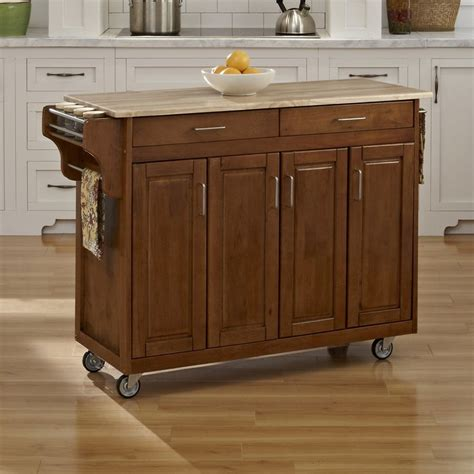 Cottage Kitchen Island Shop Home Styles 48 75 In L X 17 75 In W X 34 75 In H Cottage Oak Kitchen Island Casters At