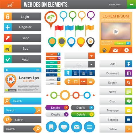 design menu buttons web design elements stock vector illustration of menu