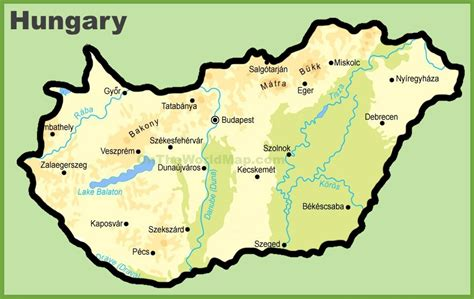 physical map of hungary hungary physical map