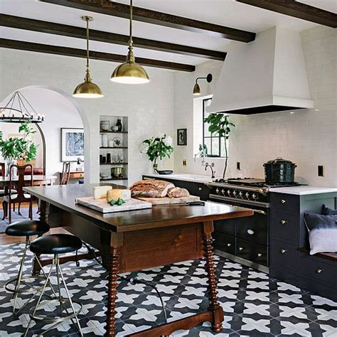 white kitchen patterned floor let s discuss patterned cement tile elements of style blog