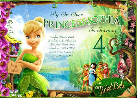 free printable disney fairies birthday invitations tinkerbell fly on birthday invitation printable
