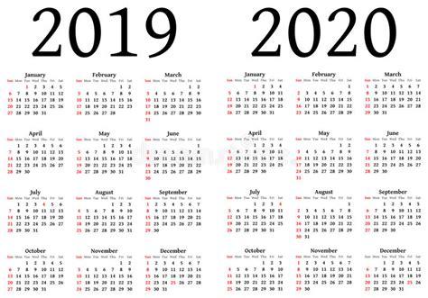 Calendario 2019 Italiano Calendario Per 2019 E 2020 Illustrazione Vettoriale