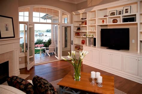 Cape Cod Living Room by Cape Cod Shingle Style Lake Home Living