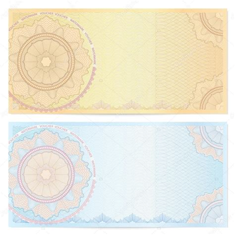 design background voucher voucher template with guilloche pattern watermarks and