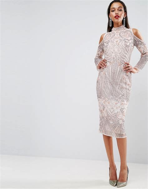 Midi Dress Shoulder Cold Prisya Dress Midi Shoulder Biru Putih Pris asos carpet cold shoulder pearl midi dress shopperboard