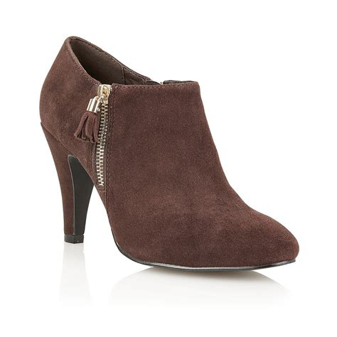 boot and shoe lotus lotus mayon brown suede look zip heeled shoe