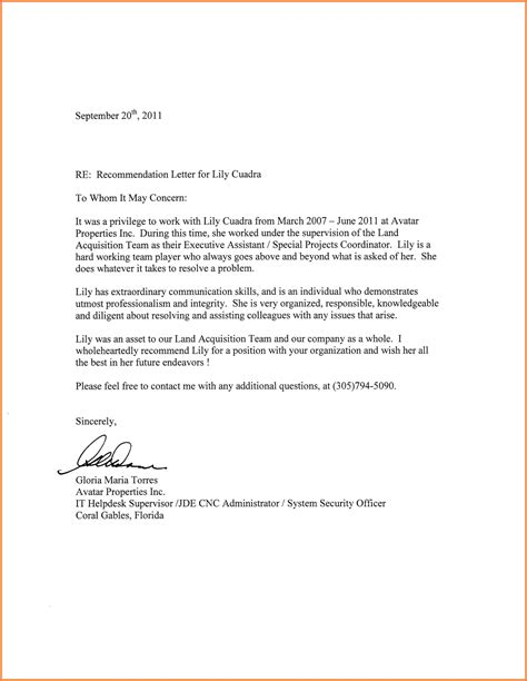 Letter Of Recommendation To Graduate School ideas of letter of recommendation employee graduate school