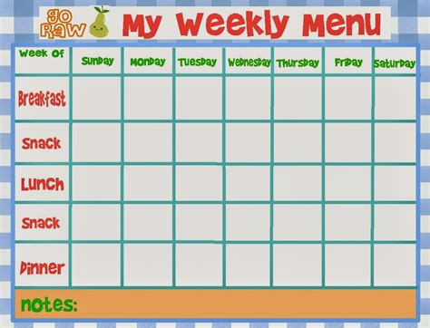 free weekly menu template menu templates weekly calendar template 2016