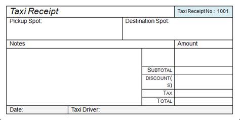 format of taxi bill in word form microsoft excel