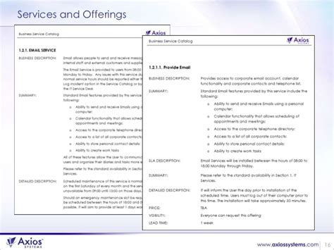 Defining Services For A Service Catalog Itil Service Definition Document Template