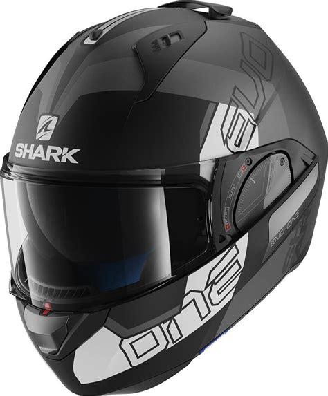 shark evo   slasher kask mat siyah beyaz moto duenya