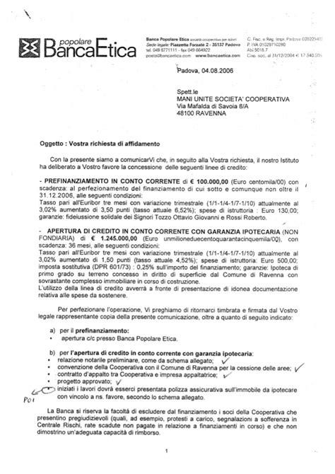 Richiesta Documenti Banca by Documenti Prefinanziamento Banca Etica