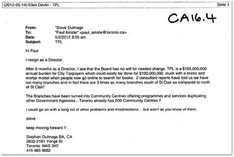 Fundraising Letter To Board Members toronto library s weirdest board member resigns