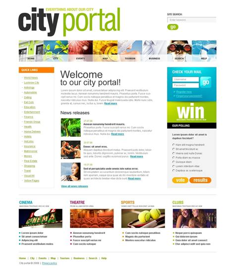 templates for portal website city portal website template web design templates