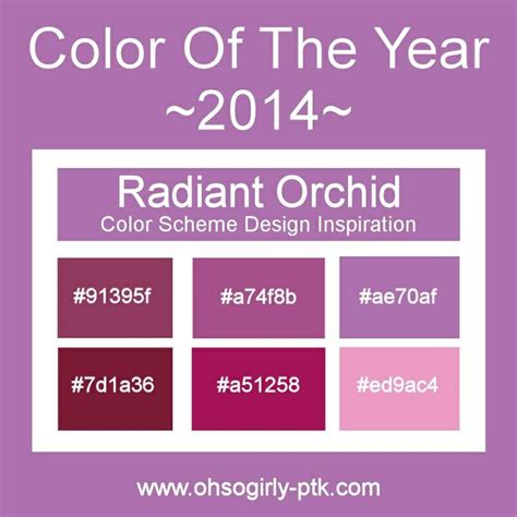 pantone announced that radiant orchid is the color of the year for 2014 here is a color palette