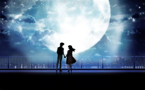 anime art anime couple holding hands moonlight desktop