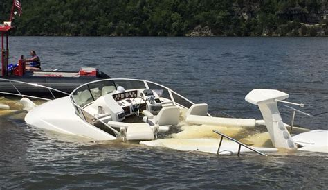 fountain boats lake of the ozarks boaters beware 45 foot cruiser still submerged marked