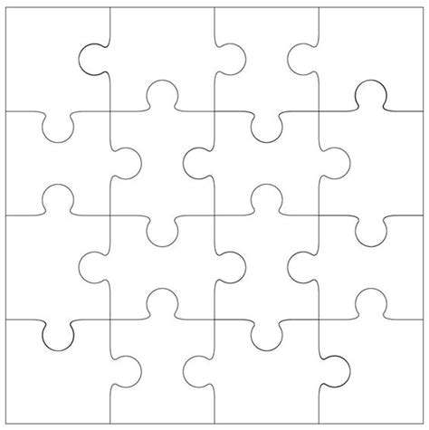 printable shapes puzzle 16 piece jigsaw template by bird printables pinterest
