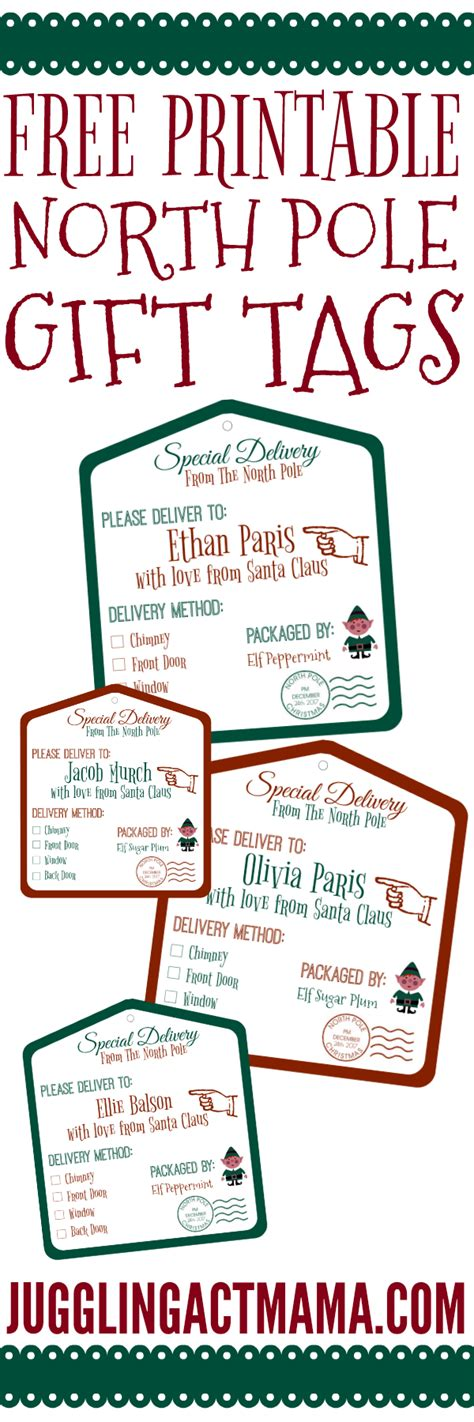 printable gift tags from the north pole north pole printable gift tags juggling act mama