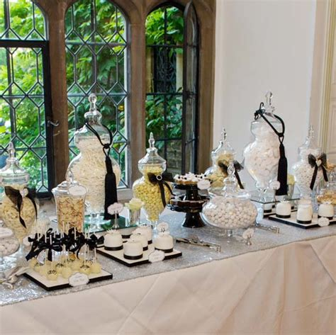 Buffet Table Risers Black White And Silver Chanel Inspired Dessert And Sweet