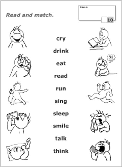 quiz for easy kid activity read and match tests printables for esl teachers and