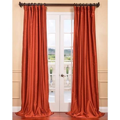 dupioni silk curtains sale blood orange yarn dyed faux dupioni silk curtain panel