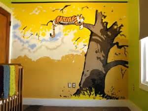 Calvin And Hobbes Wall Mural Nursery Mural Wall Cartoon Themed Painting Showcase How