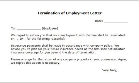 Termination Of Employment Letter Ireland Sle Free Printable Letter Of Termination Form Generic