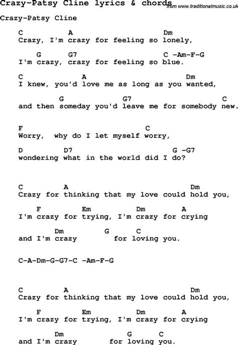 printable lyrics chords love song lyrics for crazy patsy cline with chords for