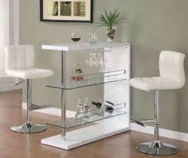 Contemporary Bar Table Gloss White Finish Modern Bar Table W Optional Bar Stools
