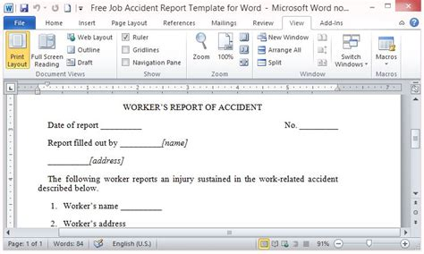 Operations Report Template Word Free Report Template For Word