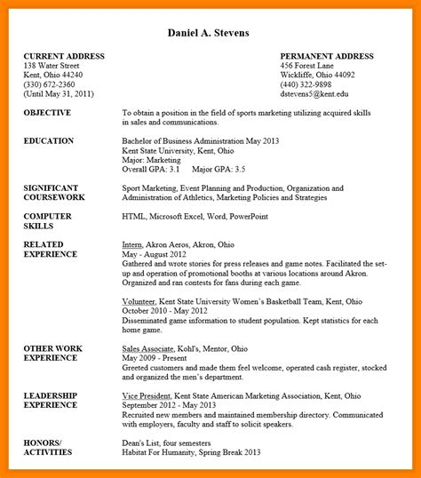resume format of student resume templates for undergraduate students best resume