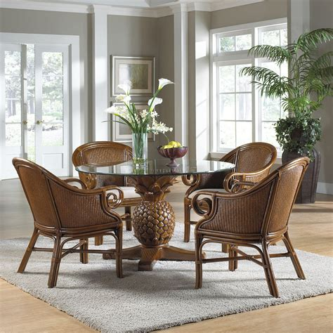 Wicker Dining Table Set Hospitality Rattan Sunset Reef Indoor 5 Rattan Wicker 48 In Dining Set With Cushioned