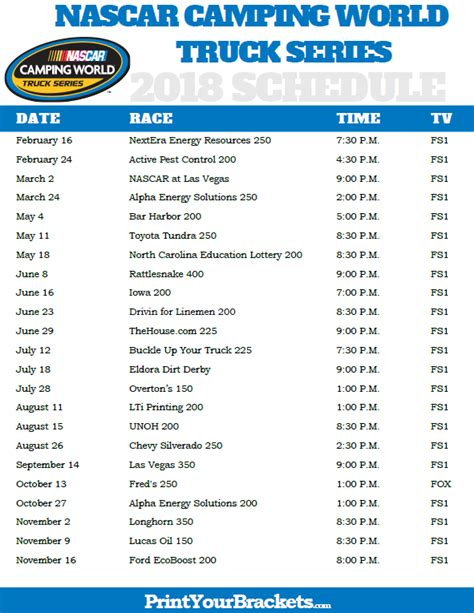 truck schedule printable nascar cing truck series schedule 2018